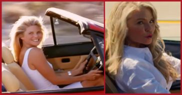 Christie Brinkley driving the iconic red ferrari.