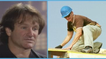 Robin Williams helping build houses for Habitat for Humanity.