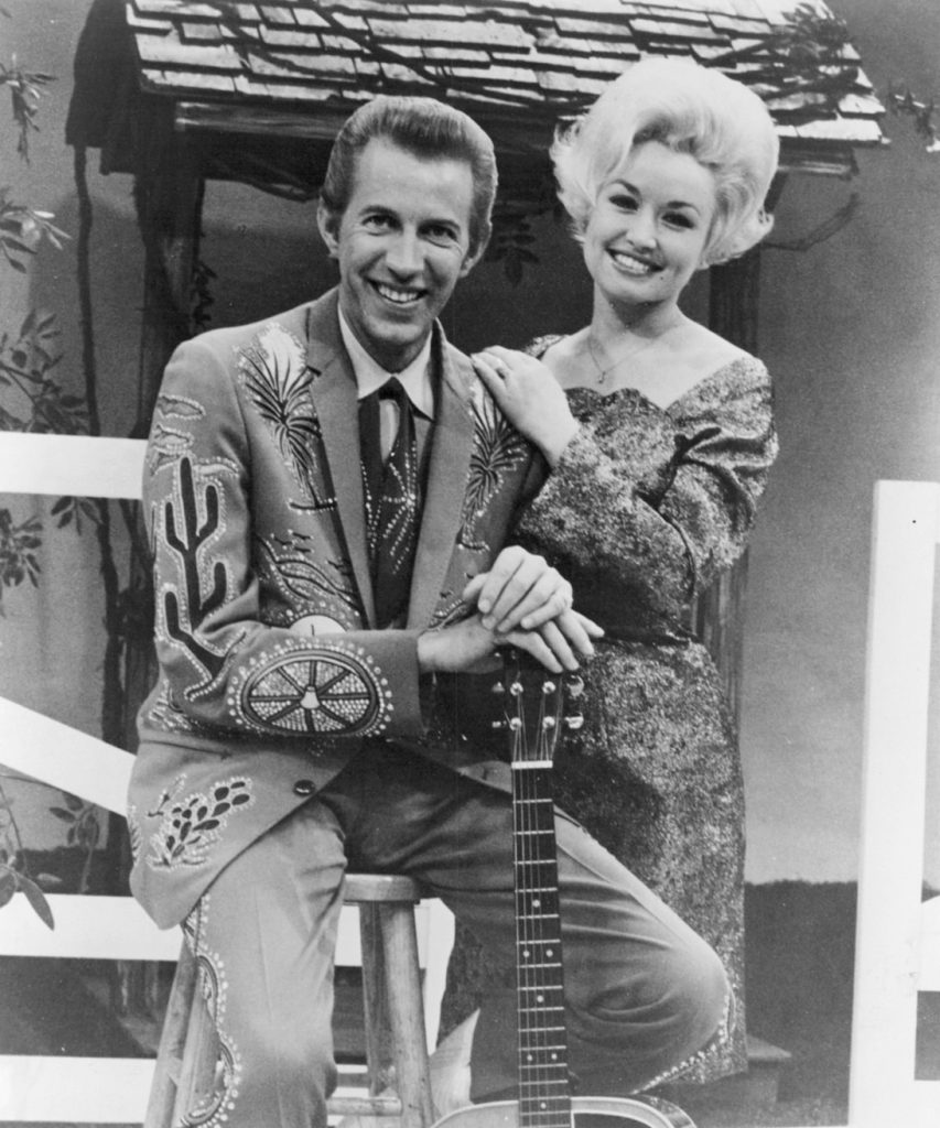 Porter and Dolly on the set of their tv show.