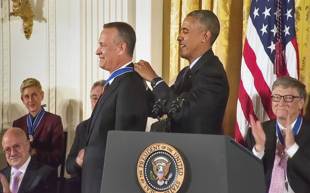 Tom Hanks being awarded the Medal of Freedom by President Obama.