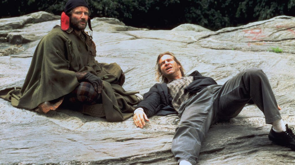 "Robin WIlliams and Jeff Bridges in the film ""The Fisher King""."