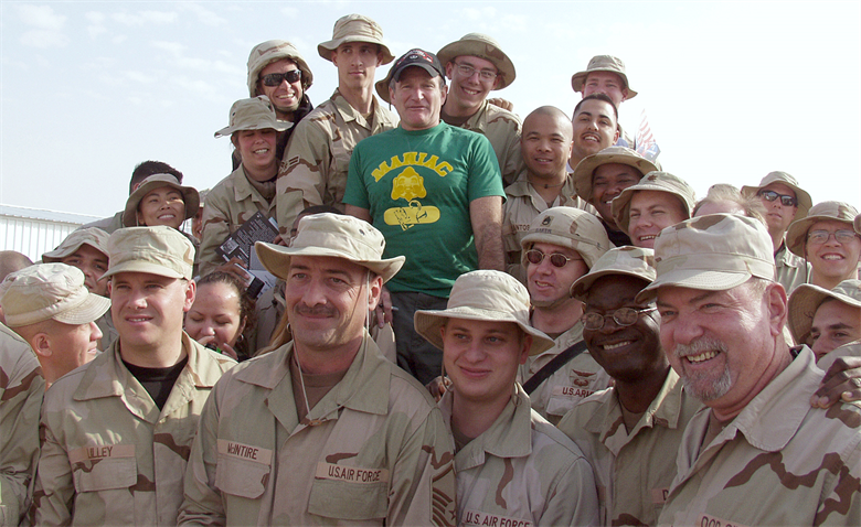 Robin Williams overseas in Iraq supporting the U.S. troops.
