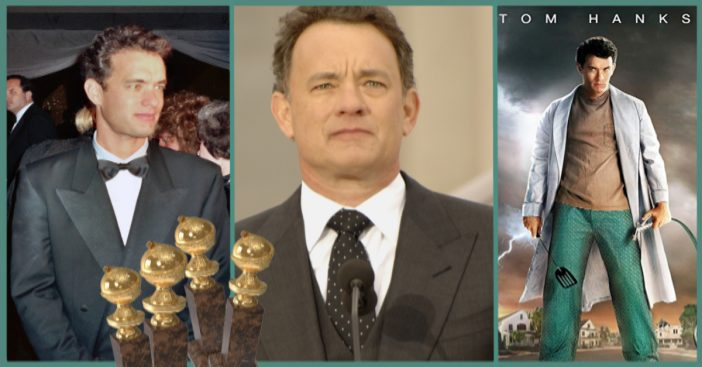 Tom Hanks with Golden Globes