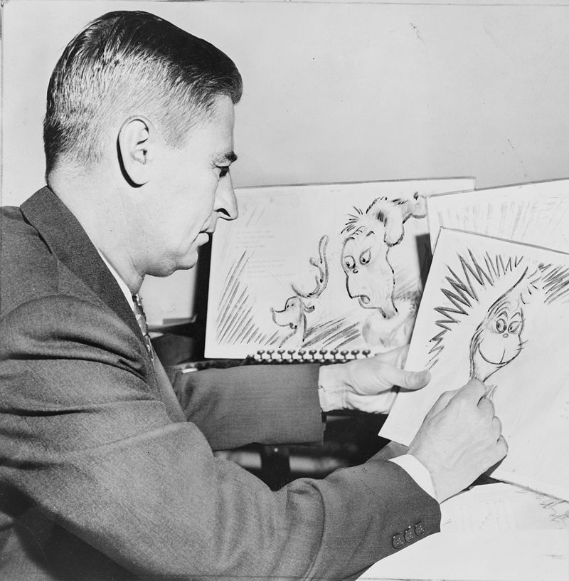 Dr. Seuss working on 'How the Grinch Stole Christmas'