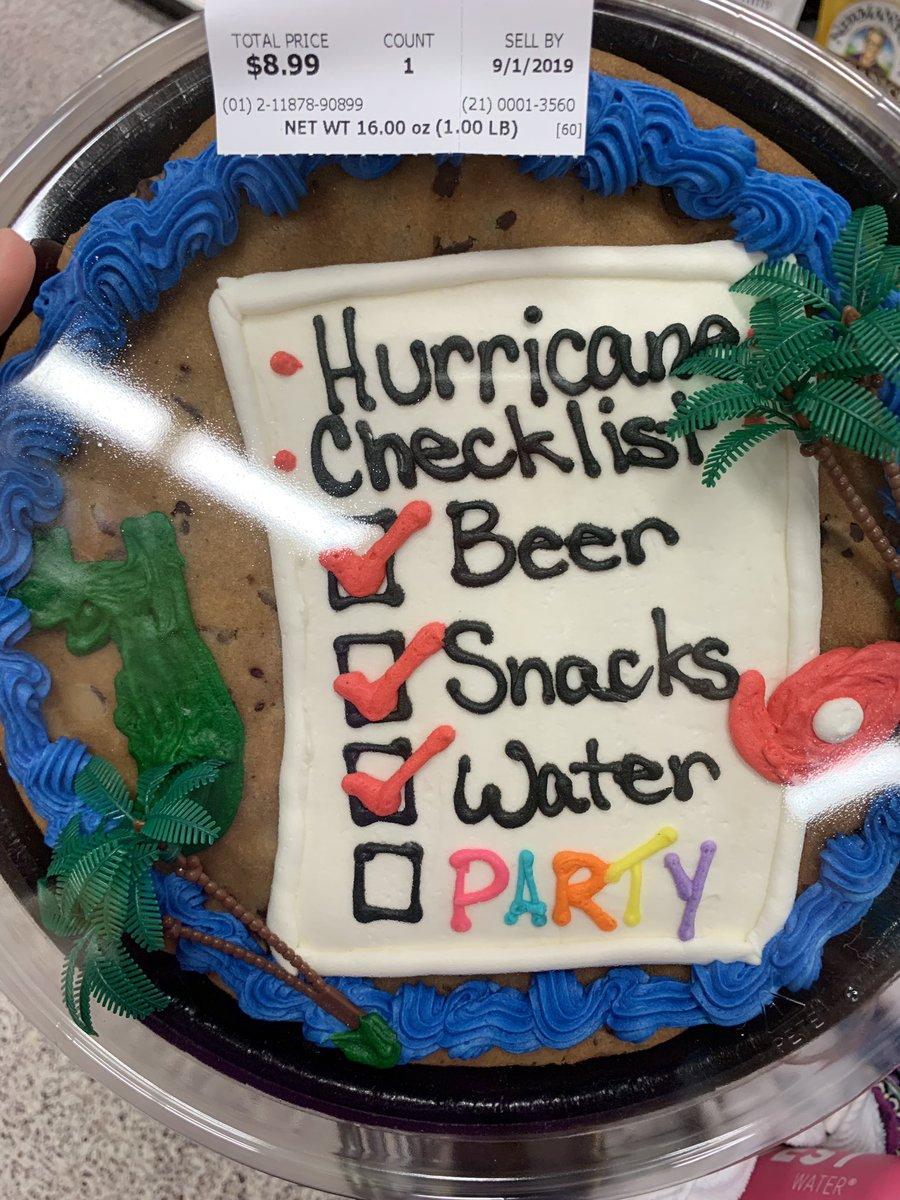 hurricane checklist cookie cake