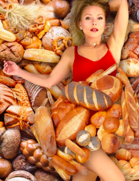 kelly ripa covered in loaves of bread