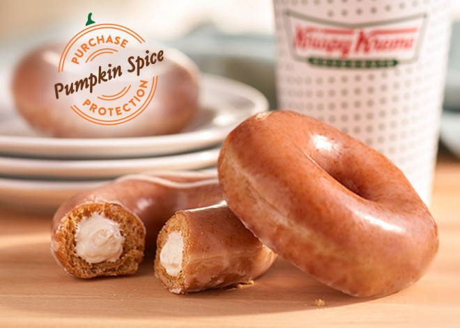 Krispy Kreme Pumpkin Spice Doughnut with Cheesecake