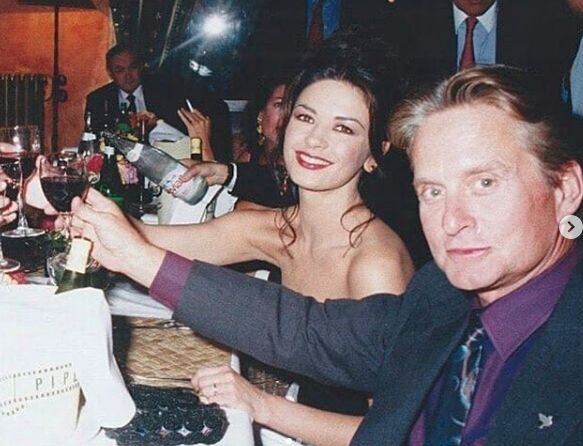 catherine zeta-jones shares birthday pic with kirk douglas