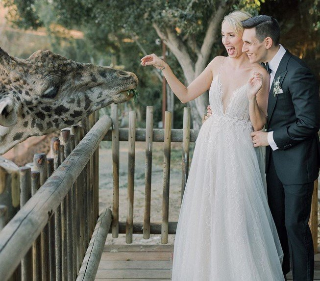 molly mccook john krause wedding giraffes zoo