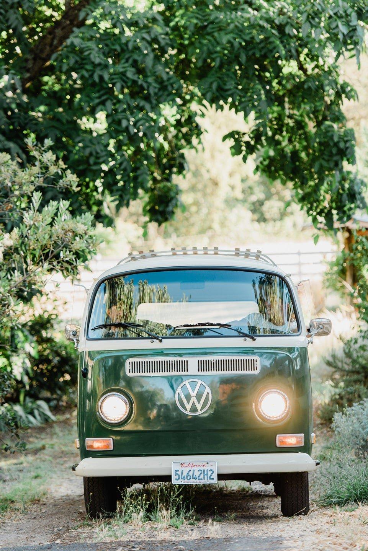 green volkswagen bus winery tour