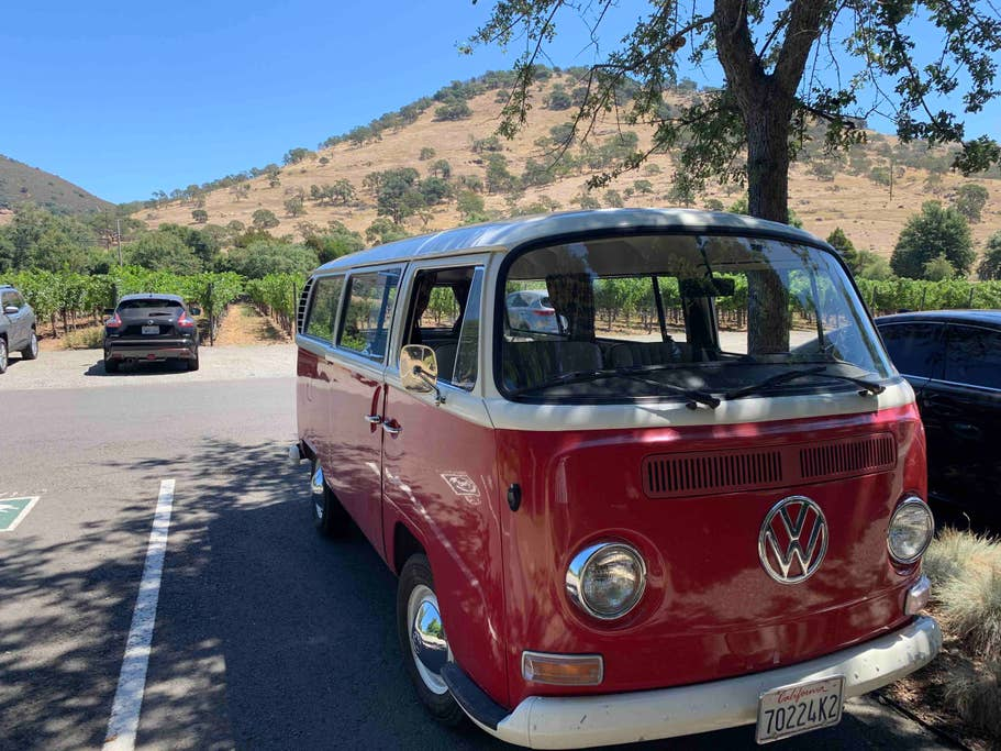 red vw bus winery tour california