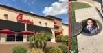 Chick fil A employee retrieves customers phone from a storm drain