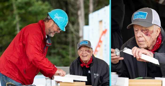 Former president Jimmy Carter works on homes for Habitat for Humanity days after fall