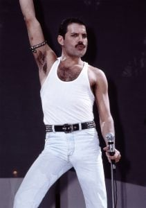 Freddie Mercury participated in the move away from low-waisted pants