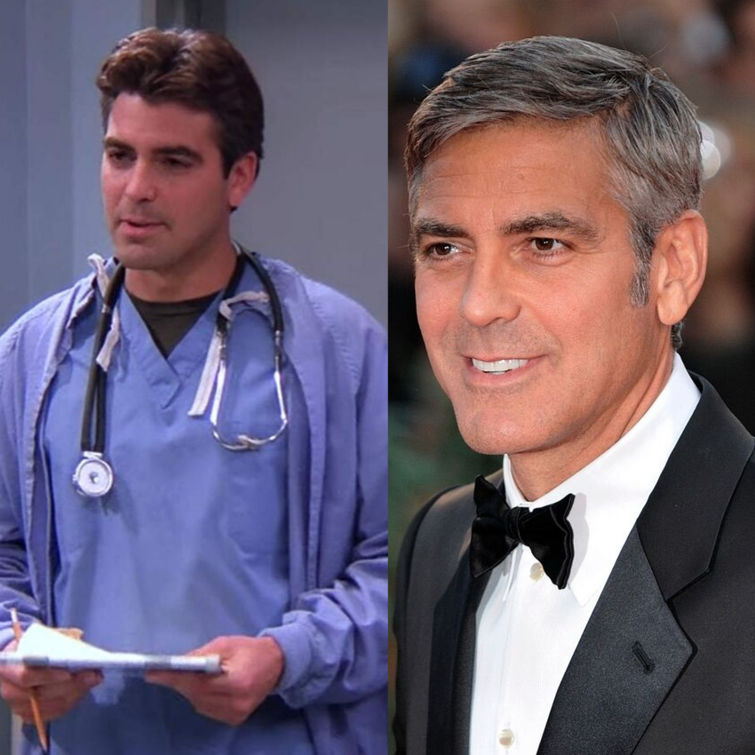 George Clooney went from dark haired on ER to a silver fox in most everything else!
