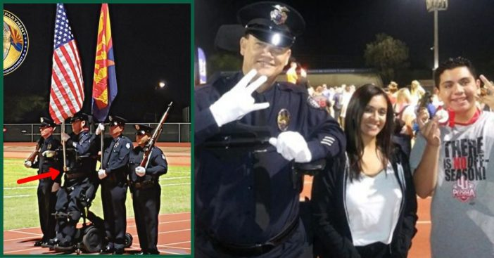 Police Officer Who Has Been Paralyzed For 14 Years Manages To Stand For The National Anthem