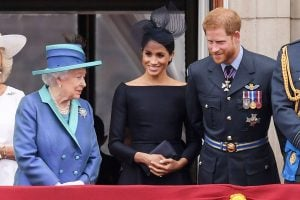 Queen Elizabeth, Duchess Meghan, and Prince Harry