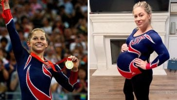 Shawn Johnson wears her 2008 Olympics leotard at 40 weeks pregnant