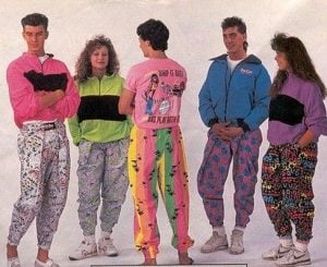 Bright neon colors definitely defined 1980s fashion