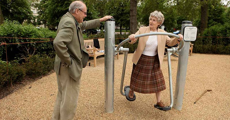 elderly playground helps boost activity and decrease loneliness