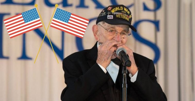 96 year old veteran Pete Dupre plays a rendition of the national anthem on the harmonica