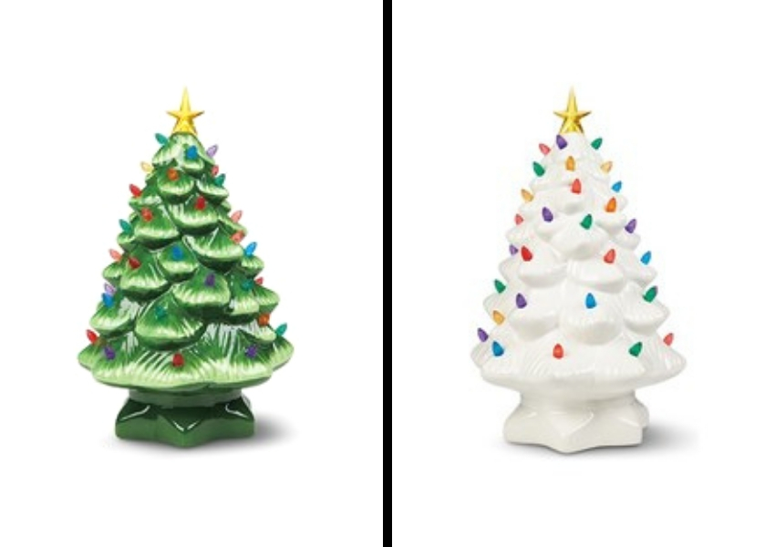 green and white classic ceramic christmas tree aldi