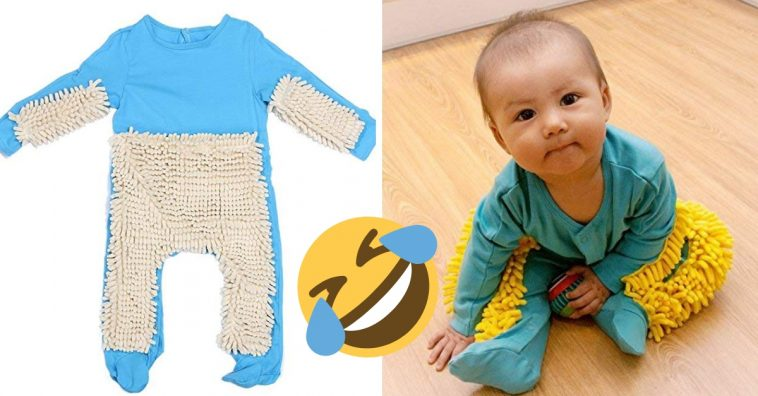 Baby onesie that doubles as a mop