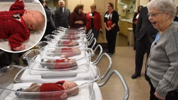Fred Rogers widow visits newborns dressed up as Mister Rogers on World Kindness Day