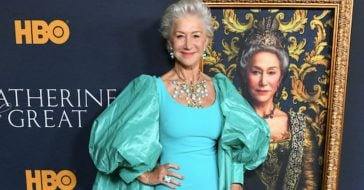 Helen Mirren Of 'Prime Suspect' Sports Gorgeous Gown With Regal Cape For Show Premiere