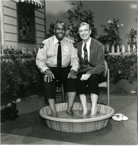 On the set of Mr. Rogers' Neighborhood