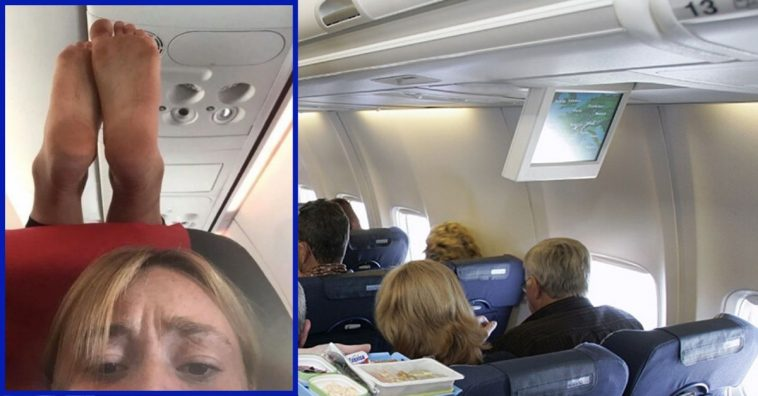 Plane Passenger Perches Bare Feet On Headrest Of Person In Front Of Her — The Photo Evidence Is Hilarious (1)