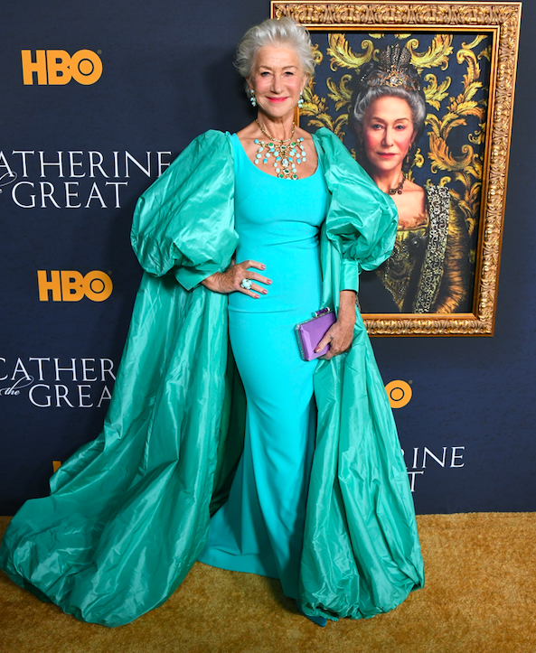 helen mirren stuns in gorgeous gown and regal cape