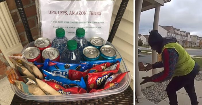 Amazon delivery driver does happy dance when he finds a basket of free snacks