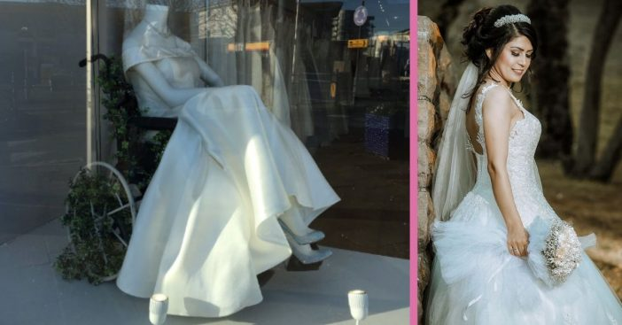 Bridal Shop Shows A Mannequin In A Wheelchair In The Front Window
