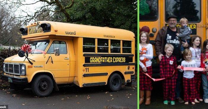 Grandpa buys school bus to take his grandchildren to school every day