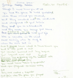 Handwritten lyrics to some of Elton John's classics are selling for quite a lot