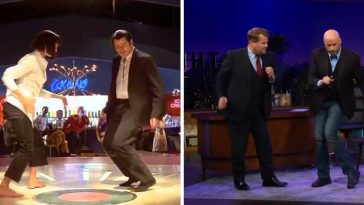 John Travolta gives a Pulp Fiction dance lesson