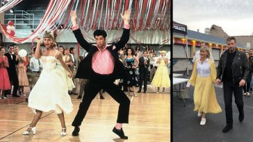 Olivia Newton John and John Travolta wear Grease costumes for first time since filming