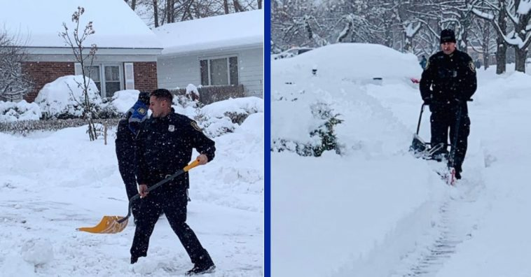Police Officers Clear A Foot Of Snow From 99-Year-Old Woman's Driveway And Sidewalk