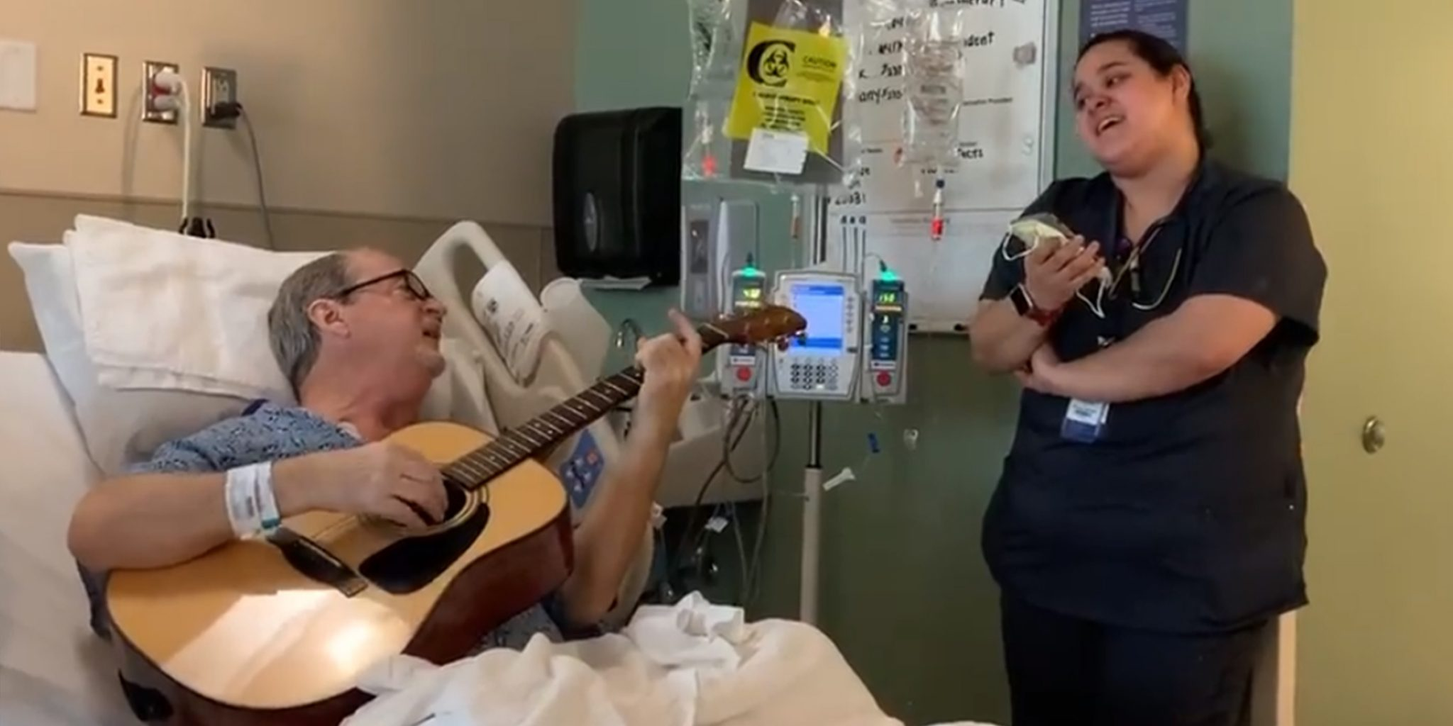 """chemo patient sings """"o holy night"""" with nurse"""