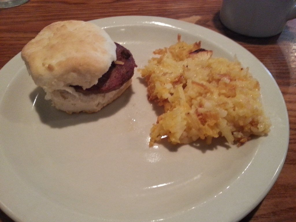 hashbrown casserole and sausage biscuit at cracker barrel