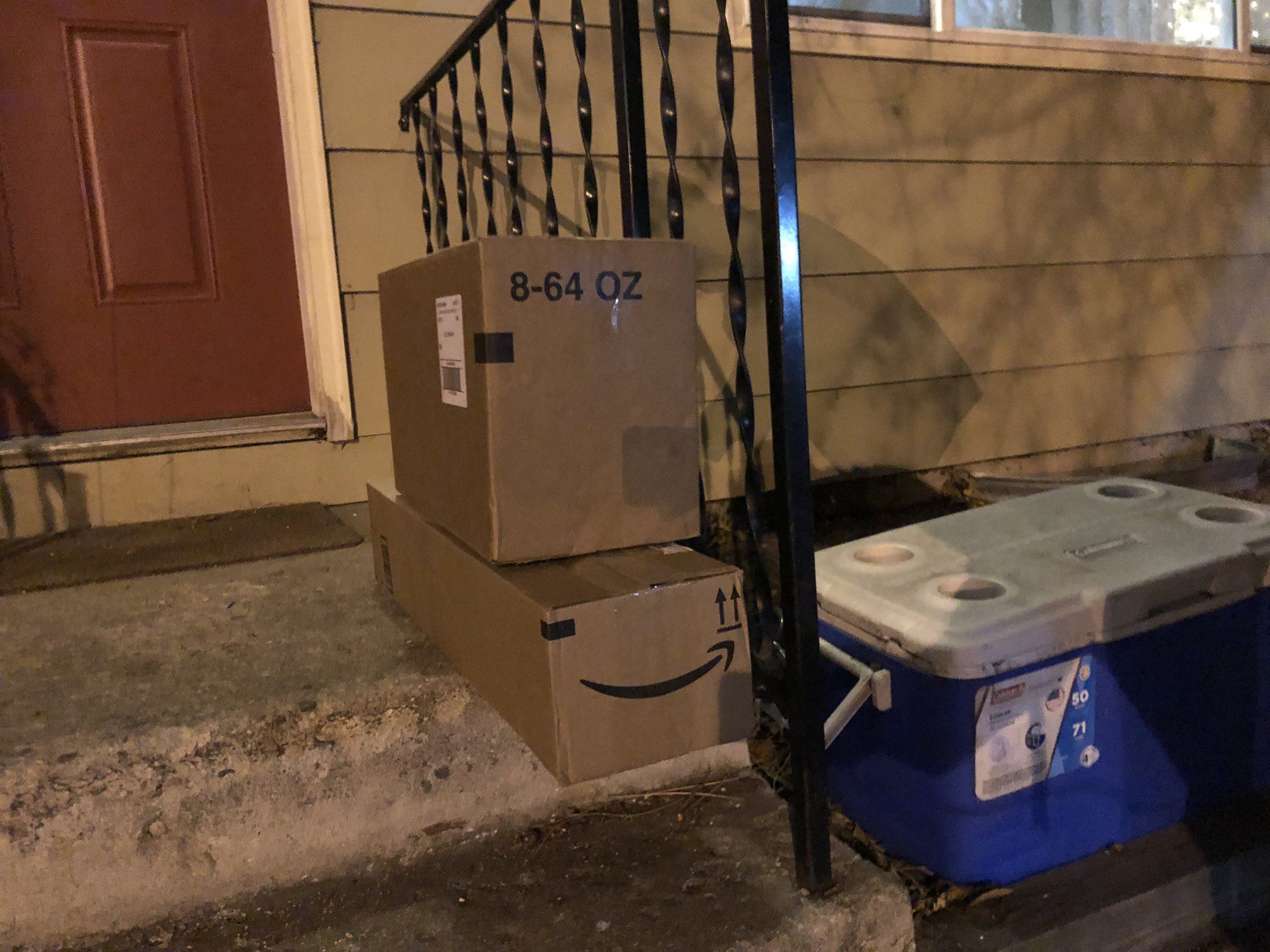 packages filled with trash left out for porch pirates