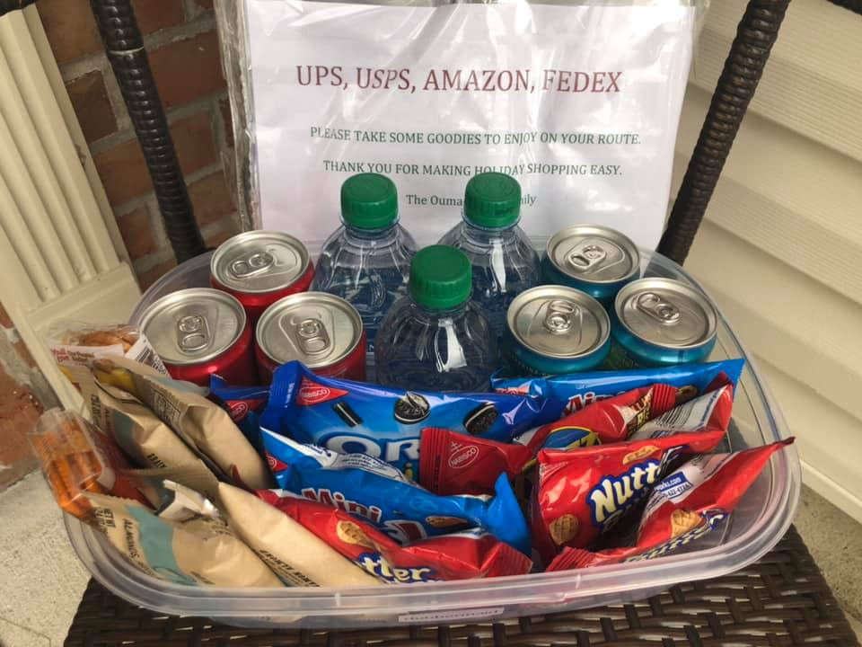 basket of drinks and snacks for delivery drivers
