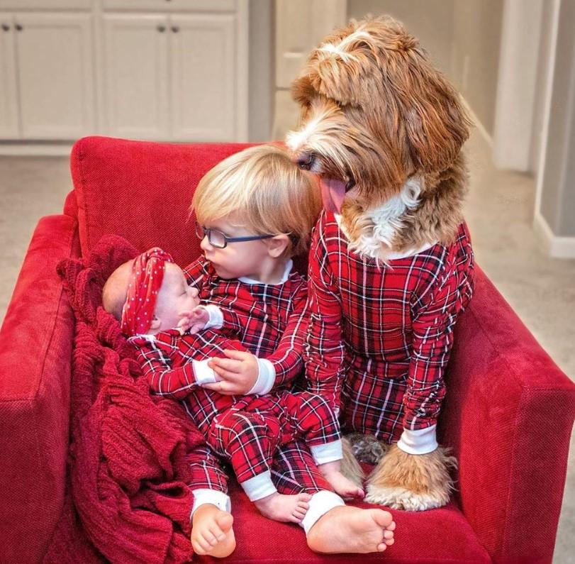reagan and kids matching christmas pajamas