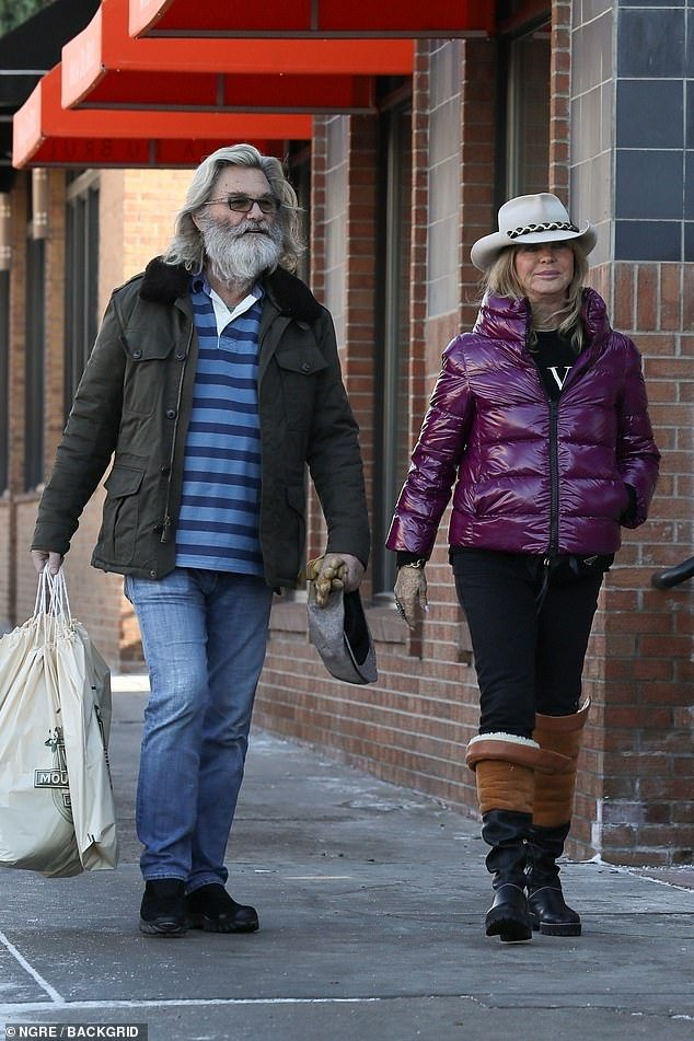 goldie hawn out and about doing holiday shopping with kurt russell
