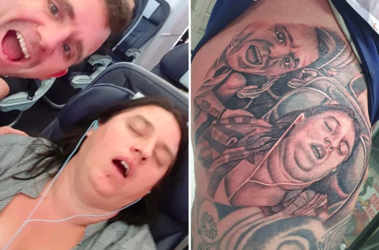 husband gets tattoo of wife snoring