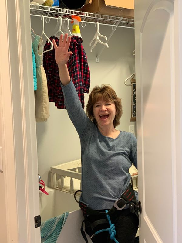 woman made it in laundry room