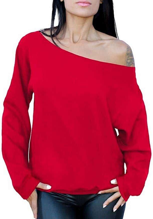 off the shoulder sweatshirt red
