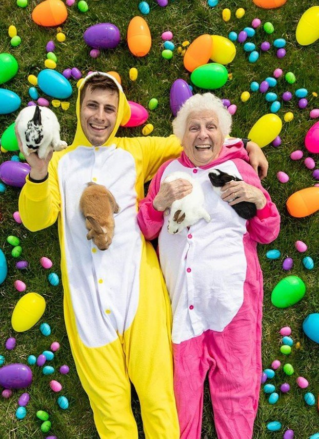 ross smith and his grandma easter costumes bunnies