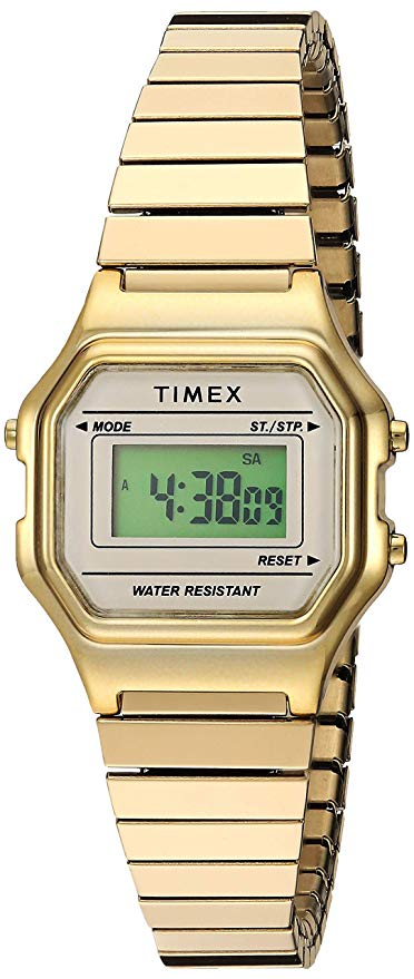 old school timex gold digital watch